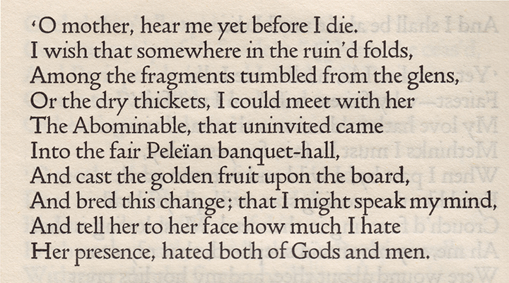 Passage of text by Tennyson typeset in Doves Press font